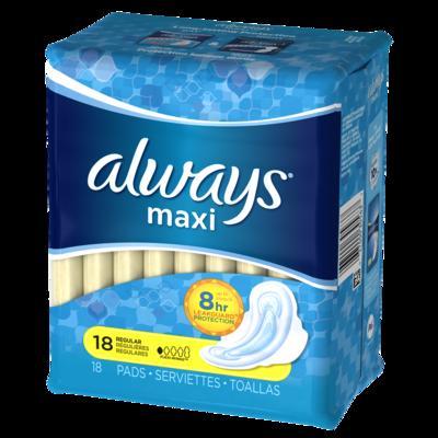 Always MAXI REGULAR w/Flexi-Wings - 18ct/6pk