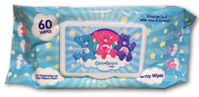 CareBears Baby Wipes Unscented w/Aloe & Vitamin E Reusable Plastic Closure - 60ct/12pk