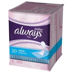 Always Daily Liners Thin UNSCENTED USA - 20ct/24pk