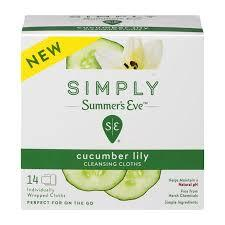 Summers Eve Simply Cleansing Cloths Cucumber Lily -14ct/12pk