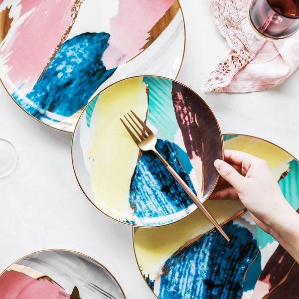 1pcs dinnerware Watercolor painting cloud 8 10 inch Ceramic Plate dinner ceramic porcelain cake plate snack