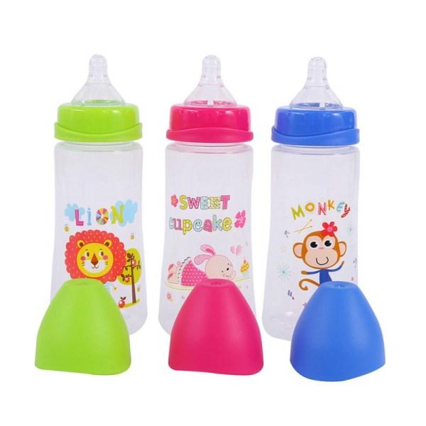 300ML Baby Cartoon Milk Wide Mouth Bottle Juice Bottle Baby Milk Bottle Safety Silicone Baby Bottle