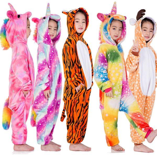 Children Pijama Unicornio Infantil Kids Warm Unicorn Rainbow Pajama Pyjamas Boys Baby Girl Clothes Animal Pijamas