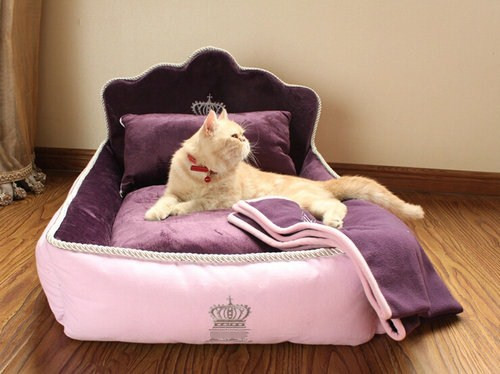 Luxury Princess Pet Bed With Pillow Blanket Dog Bed Cat Bed Mat Sofa Dog House Nest 2