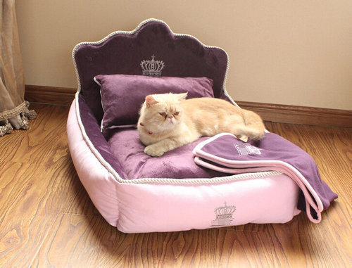Luxury Princess Pet Bed With Pillow Blanket Dog Bed Cat Bed Mat Sofa Dog House Nest 3