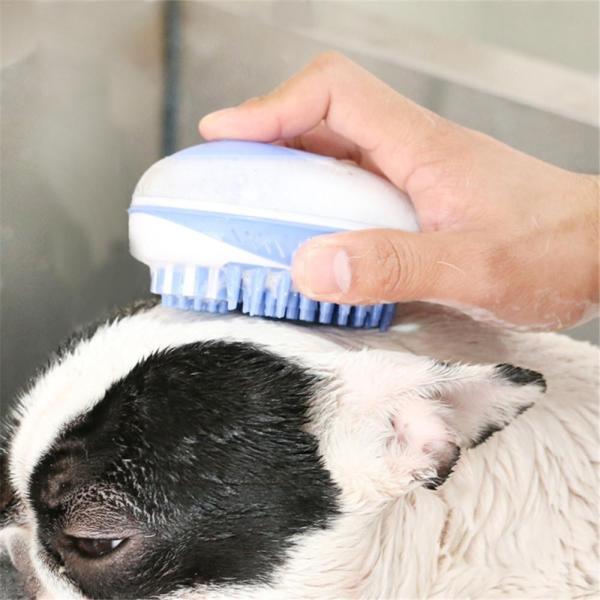 OUYXR Dog Bath Massage Brush Pet Soft Bristle Silicone Shampoo Dispenser Bathing Hair Removal Comb For 5