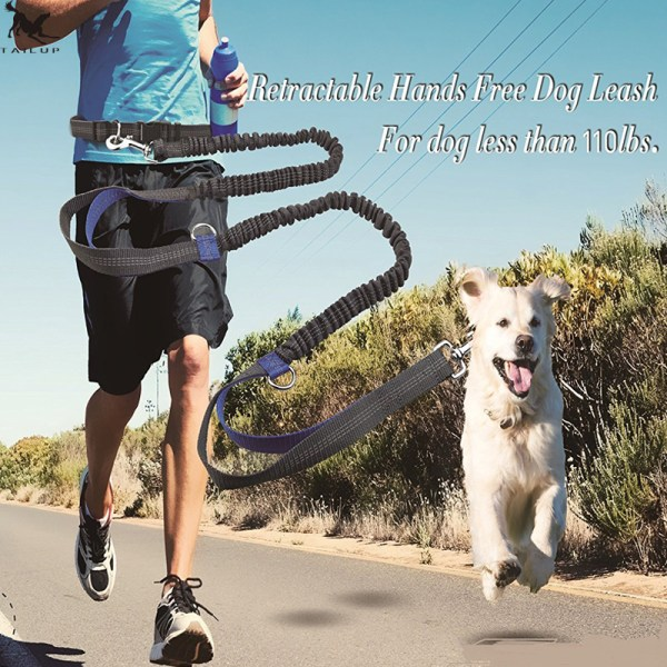 TAILUP Pet Dog Running Leash Rope with2 handles DogJoging Walking Leash with Reflective Hands free
