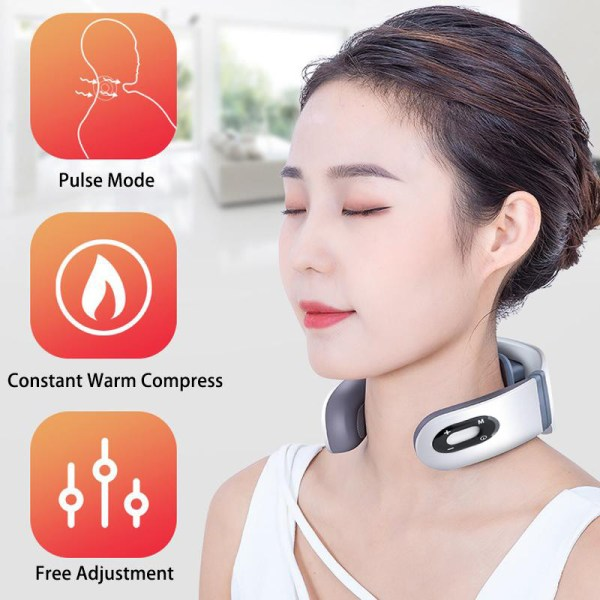 USB Rechargable Pulse Neck Massager Far Infrared Heating Pain Relief Health Care Relaxation Device Intelligent Cervical