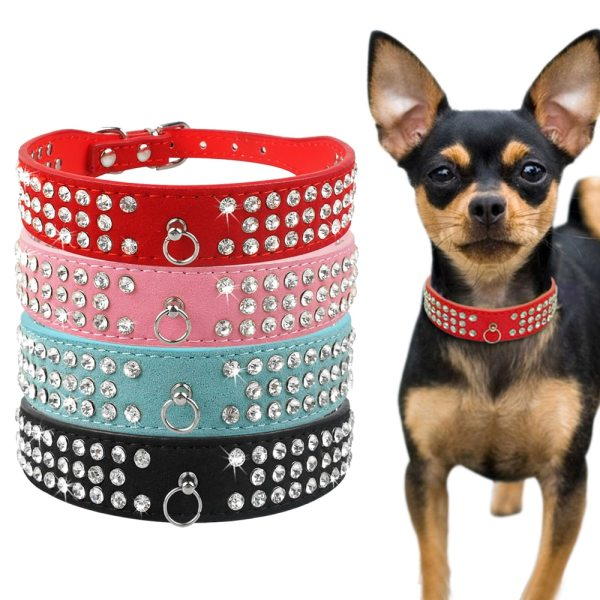 Bling Rhinestone Puppy Cat Collars Adjustable Leather Bowknot Kitten Collar For Small Medium Dogs Cats Chihuahua 3