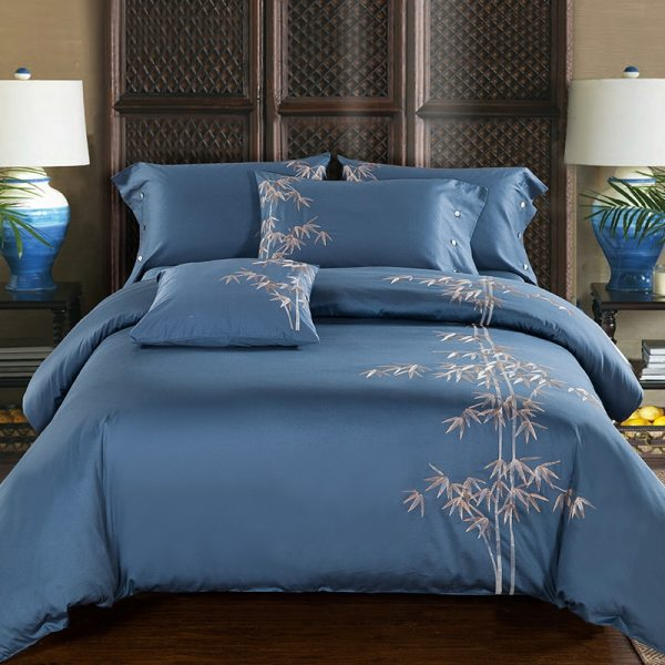 Egyptian Cotton Embroidery Luxury Oriental Bedding set King Queen size Bed set Coffee Bule Duvet cover