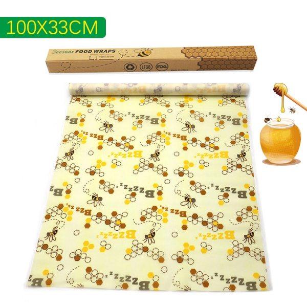 100x33cm Beeswax Food Wrap Reusable Zero Waste Eco friendly Sustainable Seal Silicone Tree Resin Plant Oils