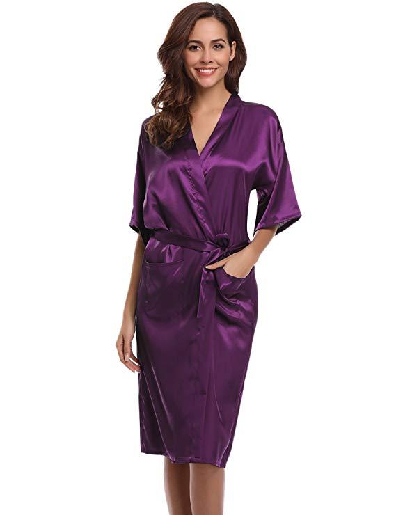 PURPLE Womens Robe Hot Sale Faux Silk Kimono Bath Gown Female Sexy Bathrobe Nightgown Mujer Pijama