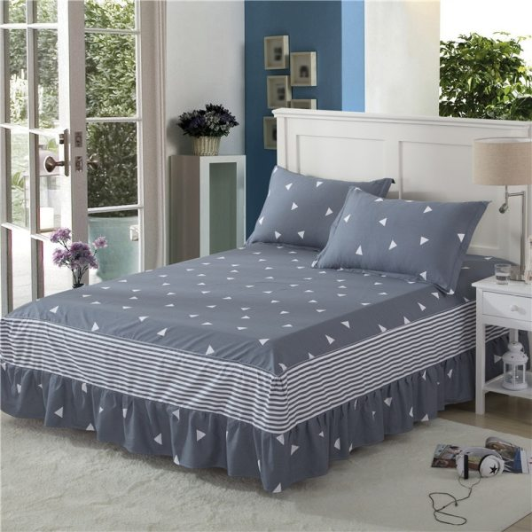 100 Cotton Bedspreads Geometric Pattern Bed Skirt Ruffled Princess Bedsheet Thick Fitted Sheet Twin Full Queen