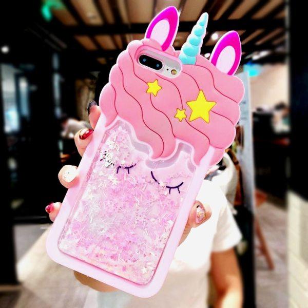 3D Cartoon Pink Quicksand Unicorn Soft Silicone Liquid Stars Case for Iphone 8 Plus 7 6S