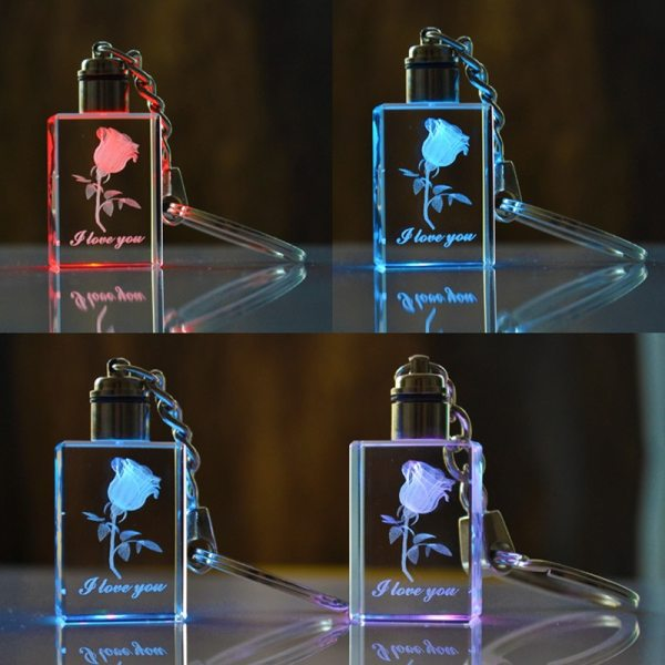 3D Laser Engraved Crystal Rose Keychain with Picture LED Light Custom Rectangle Glass Photo Key Rings