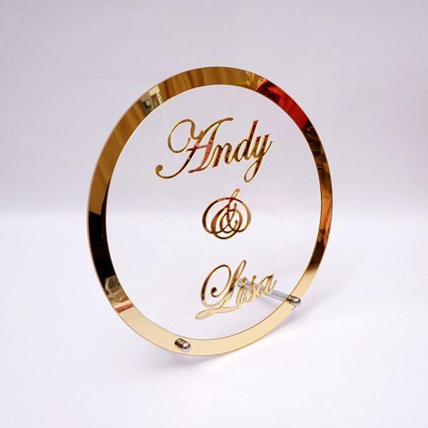 Round Custom Wedding Name Personalized Mirror Frame Acrylic Babyshower Word Sign Circle Shape Party Decor With