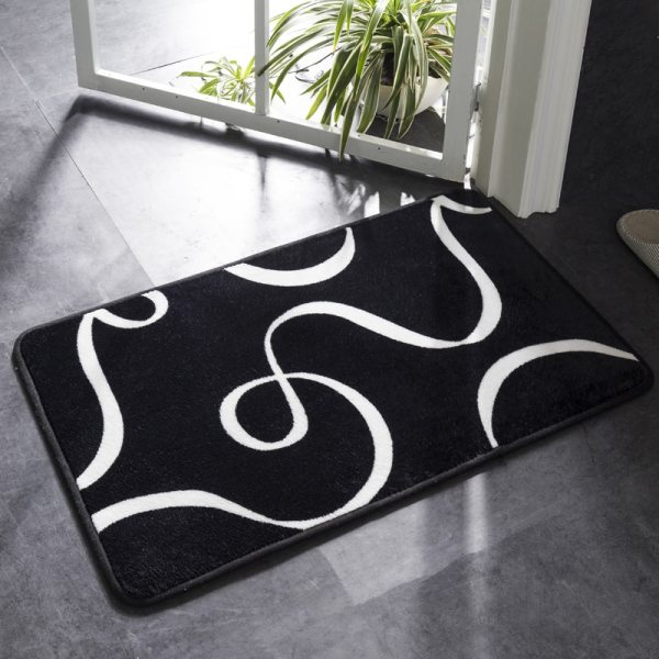 Honlaker Bath Mat Black and White Classic Geometric Pattern Super Soft Absorbent Bathroom Door Mat Non 1