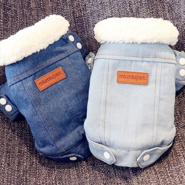 Luxury Winter Dog Jacket Puppy Dog Clothes Pet Outfits Dog Denim Coat Jeans Costume Chihuahua Poodle