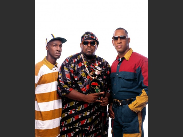 Rap pioneers Grandmaster Flash, Afrika Bambaataa, and Kool Dj Herc in New Yok City in 1994 - This photo is from the Defining Years of Hip-Hop 1990-2000. (Photo by Chi Modu/diverseimages)