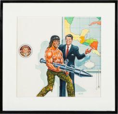 """Illustration pour le magazine MAD (1985) : Trophée """"Over the top"""" : $2,600"""