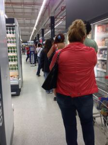 The line stretched around the store. Bummer
