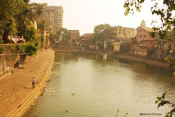 Banganga with buildings and slums by the side - banganga tank mumbai