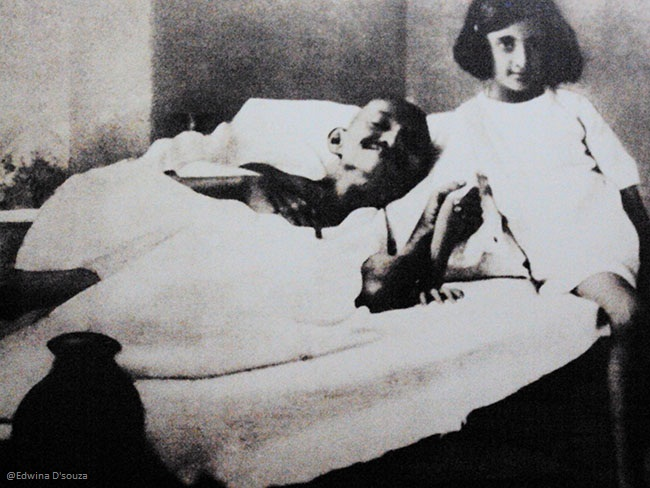 Mahatma Gandhi with a young Indira Gandhi (Jawaharlal Nehru's daughter and India's first women Prime Minister)