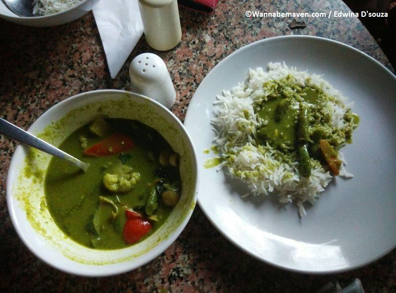 Thai curry and rice at Niko Ice Cream Goa