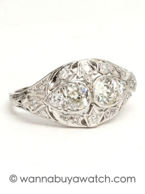 Platinum Diamond Pierced Ring