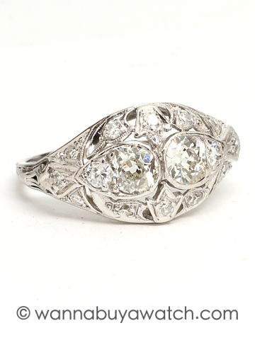 Platinum Diamond Pierced Ring