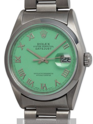 """Rolex SS Datejust circa 2000 """"Mint Green"""""""