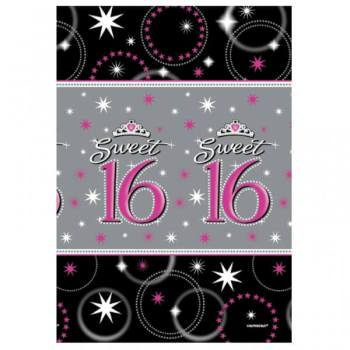 "Paper Tablecover Sweet 16 - 54"" x 102""-0"