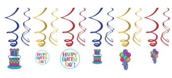Birthday Fever Swril Decoration - 12CT-0