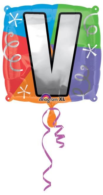 """18"""" Square Letter V Balloon S30 -0"""