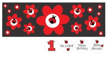 Ladybug Fancy Giant Party Banner with stickers -0