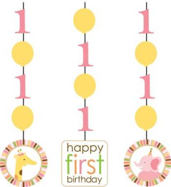 Sweet at 1 Birthday Girl Dangling Cutout - 3CT-0