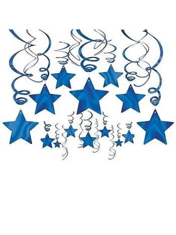 Blue Star Swirl Decoration - 15CT-0