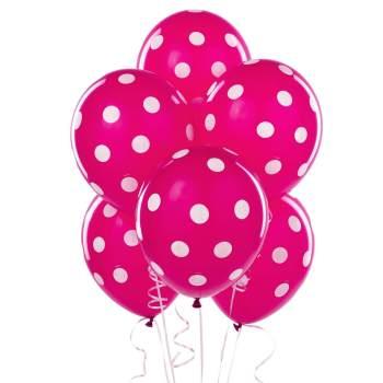 """Polka Dot Hot Pink Latex Balloons 12"""" - 10CT-0"""