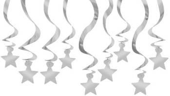 Silver Star Swirl Decoration - 15CT-0