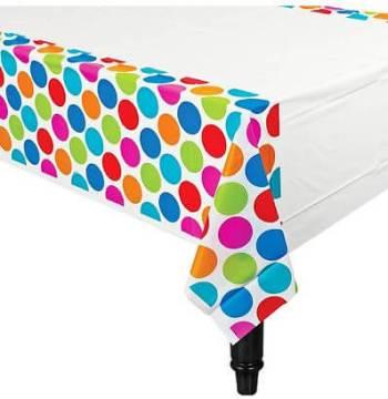 Cabana Polka Dot Plastic Table Cover 54in x 96in-0