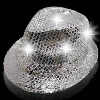 Light Up Sequin Hat Silver-0