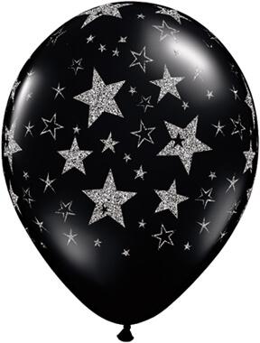 "Glitter Stars & Stars-A-Round Black Onyx Balloon 11"" 10CT-0"
