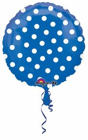 "Polka Dot Balloon Blue 18"" S50-0"