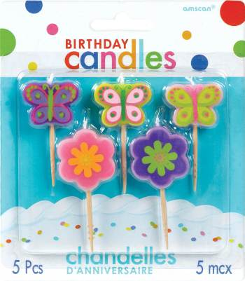 """2.5"""" B'Day Toothpick Candles Flowers & Butterflies - 5CT""-0"