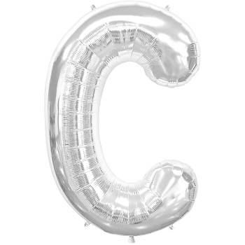 Letter C Silver Mylar Balloon-0