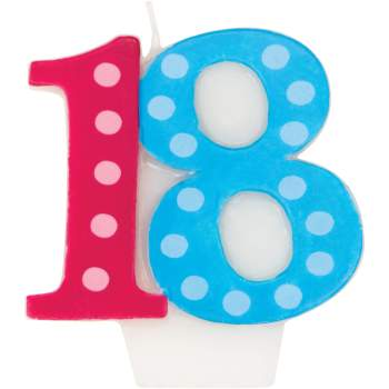 Bright & Bold 18th B'day Candle-0