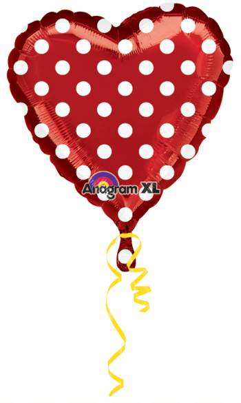 "Red Polka Dot Balloon 18"" S40-0"