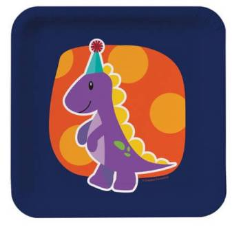 Dinosaurs Theme Sqr B'day Party Dessert Plates - 8CT-0