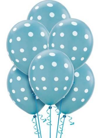 "Polka Dot Light Blue Latex Balloons 12"" - 100CT-0"