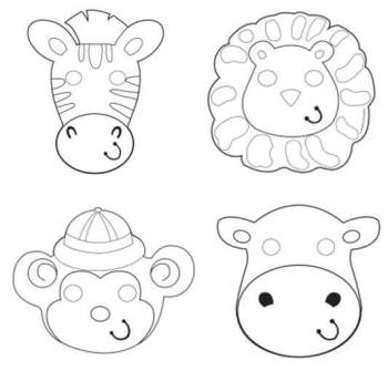 Color Your Own Animal Masks - 12PC-0